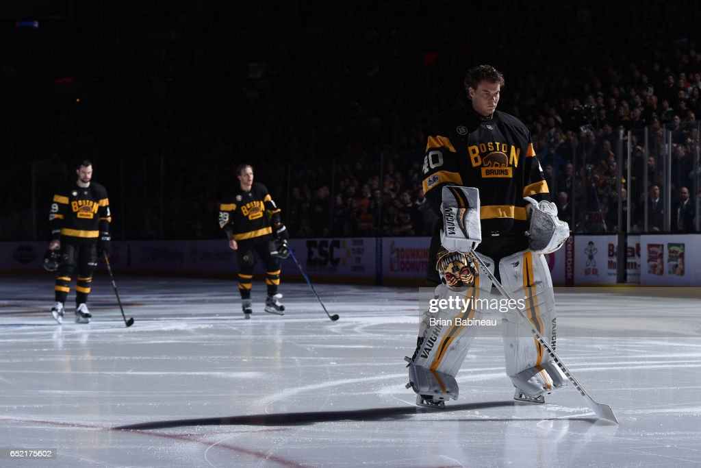 Tuukka Rask #40 of the Boston Bruins stands during the National Anthem before the game against the Philadelphia Flyers at the TD Garden on March 11, 2017 in Boston, Massachusetts.
