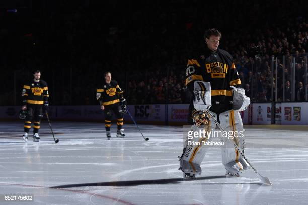 Tuukka Rask of the Boston Bruins stands during the National Anthem before the game against the Philadelphia Flyers at the TD Garden on March 11 2017...