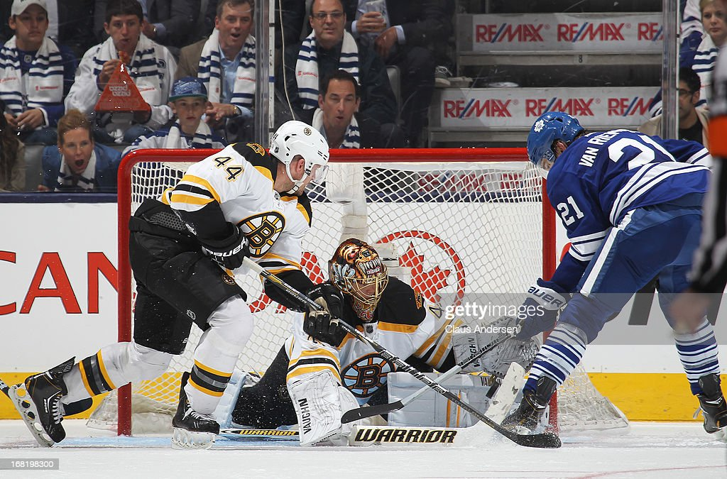 <a gi-track='captionPersonalityLinkClicked' href=/galleries/search?phrase=Tuukka+Rask&family=editorial&specificpeople=716723 ng-click='$event.stopPropagation()'>Tuukka Rask</a> #40 of the Boston Bruins stops James van Riemdsyk #21 of the Toronto Maple Leafs in Game Three of the Eastern Conference Quarterfinals during the 2013 Stanley Cup Playoffs on May 6, 2013 at the Air Canada Centre in Toronto, Ontario, Canada. The Bruins defeated the Leafs 5-2 to take a 2-1 series lead.