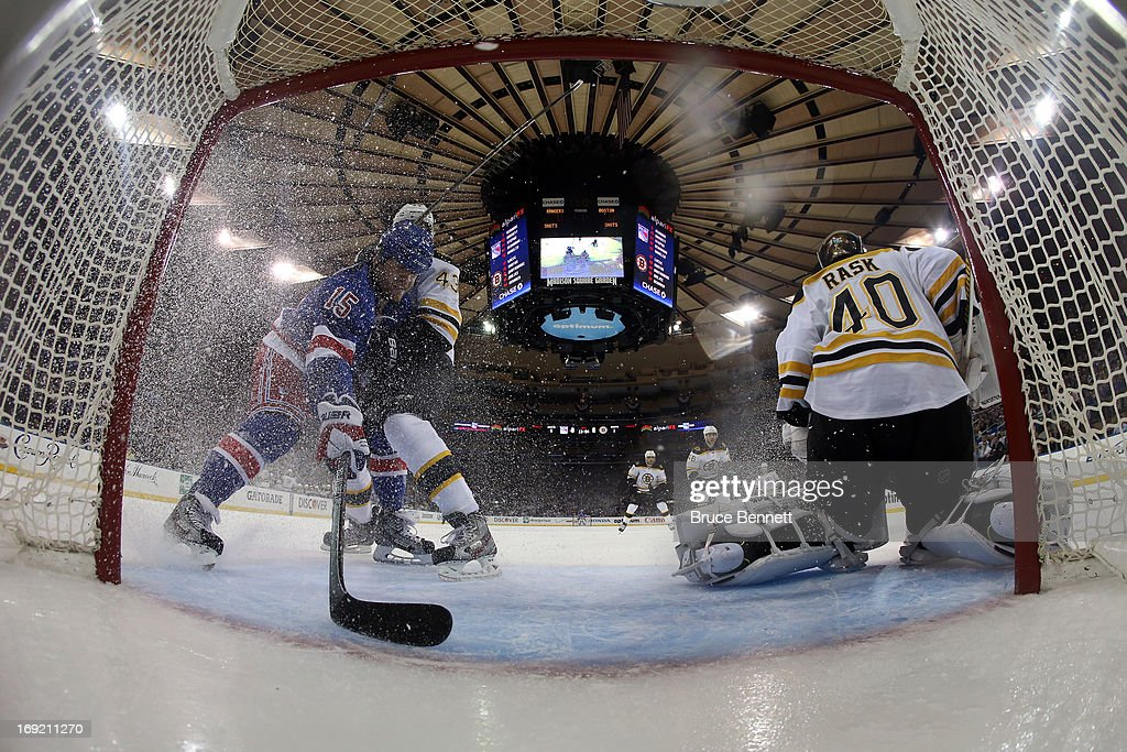 Tuukka Rask #40 of the Boston Bruins tends goal against Derek Dorsett #15 of the New York Rangers in Game Three of the Eastern Conference Semifinals during the 2013 NHL Stanley Cup Playoffs at Madison Square Garden on May 21, 2013 in New York City.