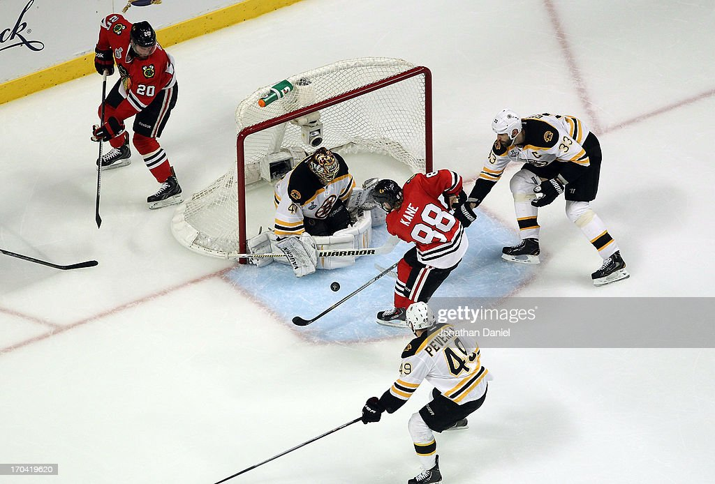 Tuukka Rask #40 of the Boston Bruins tends goal against Patrick Kane #88 of the Chicago Blackhawks in Game One of the 2013 NHL Stanley Cup Final at United Center on June 12, 2013 in Chicago, Illinois.