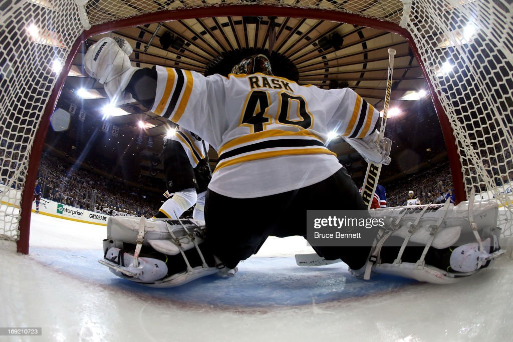 <a gi-track='captionPersonalityLinkClicked' href=/galleries/search?phrase=Tuukka+Rask&family=editorial&specificpeople=716723 ng-click='$event.stopPropagation()'>Tuukka Rask</a> #40 of the Boston Bruins tends goal against the New York Rangers in Game Three of the Eastern Conference Semifinals during the 2013 NHL Stanley Cup Playoffs at Madison Square Garden on May 21, 2013 in New York City.