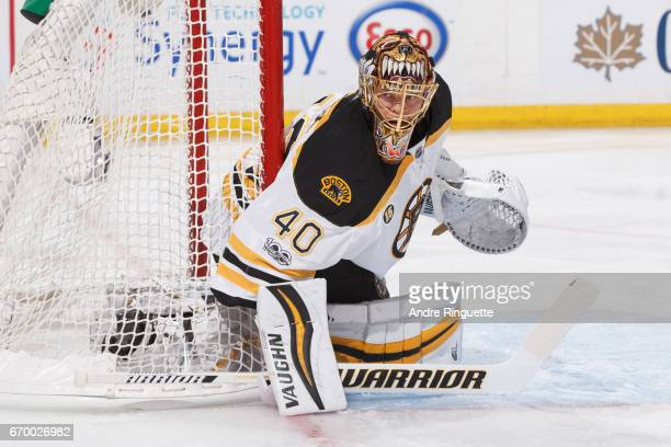 Tuukka Rask of the Boston Bruins tends net against the Ottawa Senators in Game Two of the Eastern Conference First Round during the 2017 NHL Stanley...