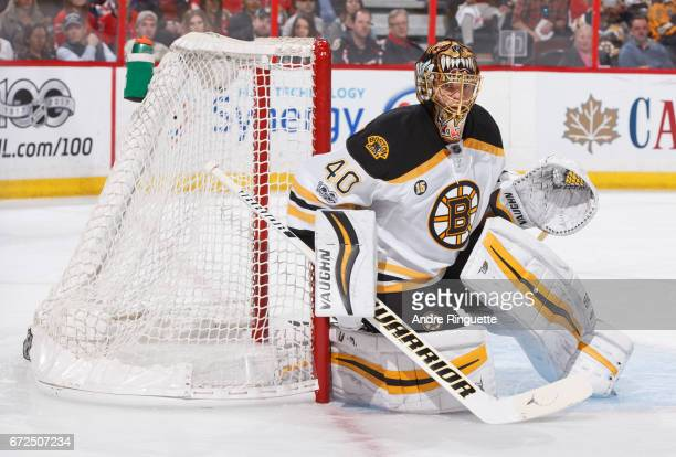 Tuukka Rask of the Boston Bruins tends net against the Ottawa Senators in Game Five of the Eastern Conference First Round during the 2017 NHL Stanley...