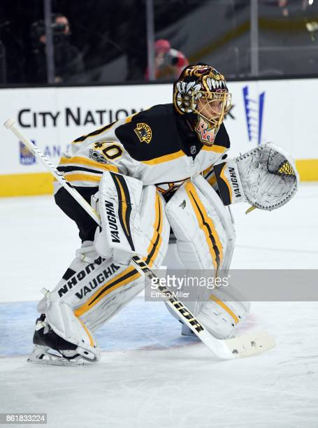 Tuukka Rask of the Boston Bruins tends net against the Vegas Golden Knights in the second period of their game at TMobile Arena on October 15 2017 in...