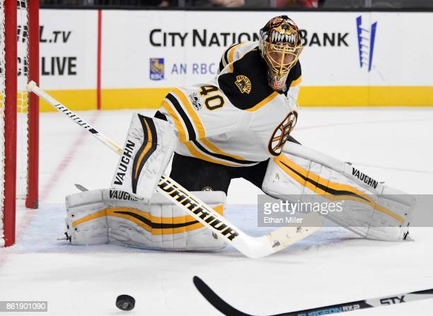 Tuukka Rask of the Boston Bruins tracks the puck in the second period of a game against the Vegas Golden Knights at TMobile Arena on October 15 2017...