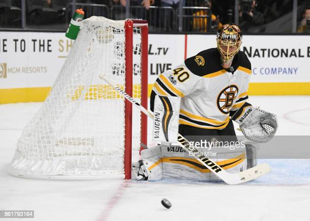 Tuukka Rask of the Boston Bruins watches a shot by the Vegas Golden Knights go wide of the net in the second period of their game at TMobile Arena on...