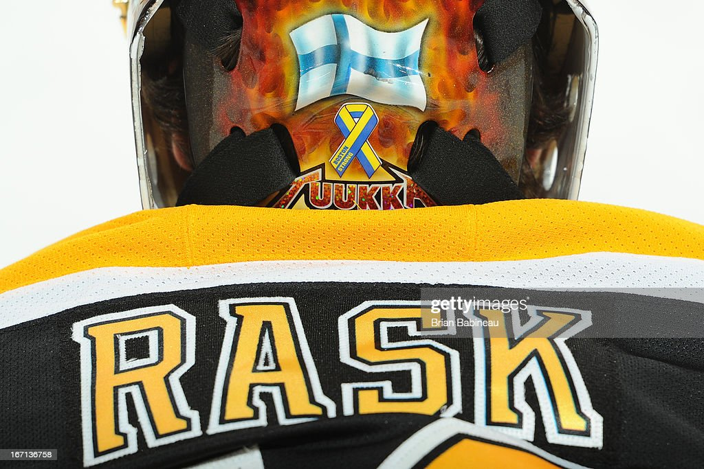 Tuukka Rask #40 of the Boston Bruins with a Boston Strong decal on his helmet during warm ups before the game against the Florida Panthers at the TD Garden on April 21, 2013 in Boston, Massachusetts.