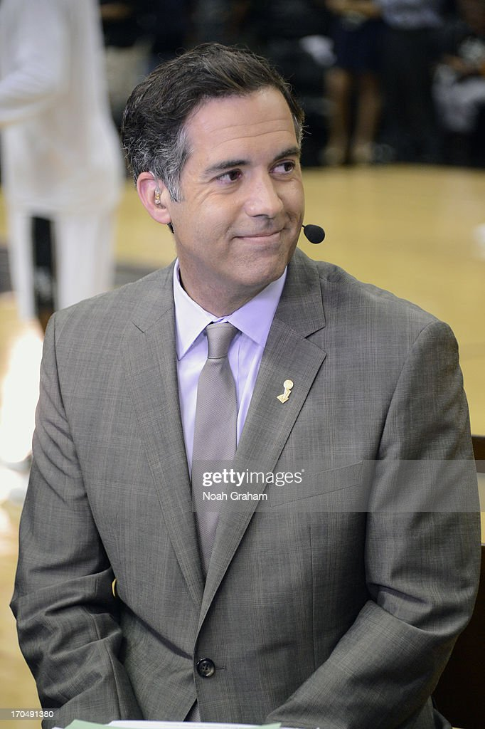 NBA Tv analyst <a gi-track='captionPersonalityLinkClicked' href=/galleries/search?phrase=Matt+Winer&family=editorial&specificpeople=7033466 ng-click='$event.stopPropagation()'>Matt Winer</a> speaks prior Game Four of the 2013 NBA Finals on June 13, 2013 at AT&T Center in San Antonio, Texas.