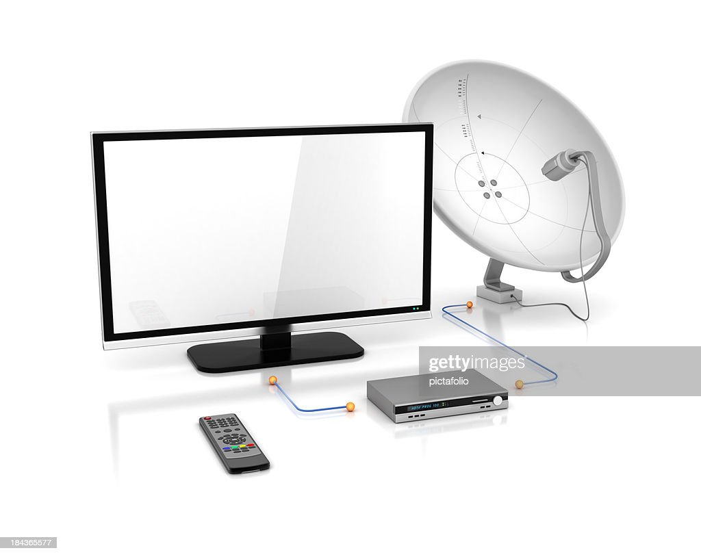 tv and satellite dish with receiver