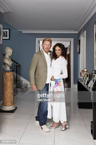 Tv commentator on tennis and former champion player Boris Becker and his wife Lilly are photographed at home for Hello magazine on June 15 2015 in...