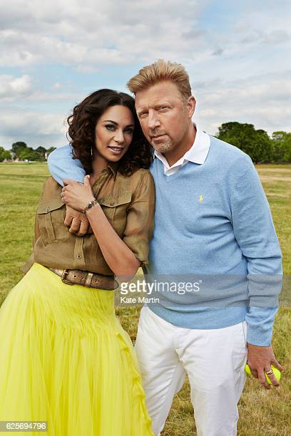Tv commentator on tennis and former champion player Boris Becker with his wife Lilly are photographed near their home for Hello magazine on June 15...