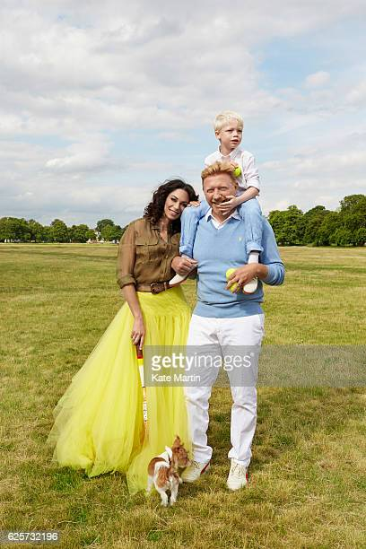 Tv commentator on tennis and former champion player Boris Becker with his wife Lilly and son Amadeus are photographed near their home for Hello...
