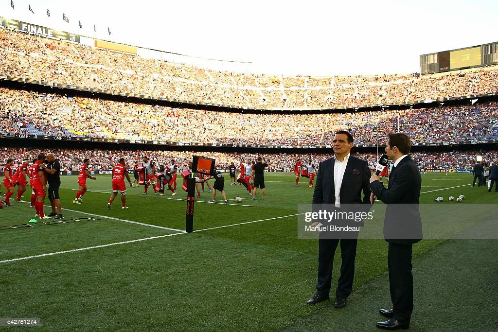 Tv consultant Raphael Ibanez before the Rugby Top 14 Final match between RC Toulon and Racing 92 at Camp Nou on June 24, 2016 in Barcelona, Spain.