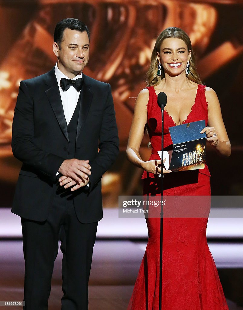 Tv host Jimmy Kimmel and actress Sofia Vergara speak onstage during the 65th Annual Primetime Emmy Awards held at Nokia Theatre LA Live on September...