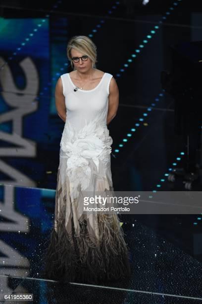 Tv host Maria De Filippi at 67th Sanremo Music Festival 5th night Sanremo February 11 2017