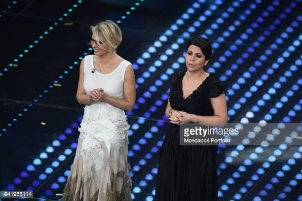 Tv host Maria De Filippi with stand up comedian Geppi Cucciari at 67th Sanremo Music Festival 5th night Sanremo February 11 2017