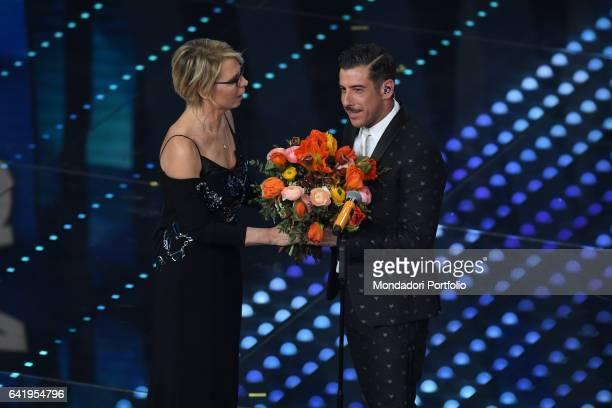 Tv host Maria De Filippi with winner Francesco Gabbani 67th Sanremo Music Festival 5th night Sanremo February 11 2017