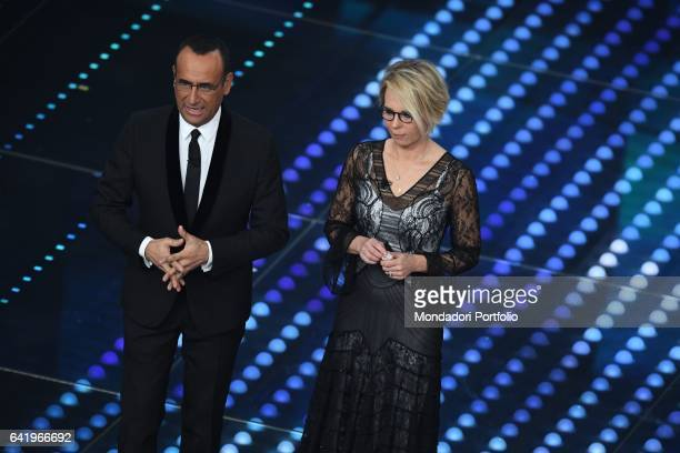 Tv hosts Carlo Conti and Maria De Filippi at 67th Sanremo Music Festival 4th Night Sanremo February 10 2017