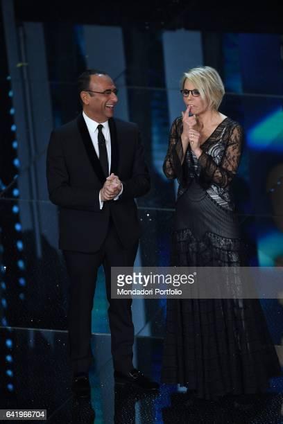 Tv hosts Carlo Conti and Maria De Filippi at 67th Sanremo Music Festival 4th Night Sanremo February 10 2017