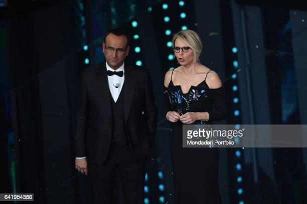 Tv hosts Carlo Conti with Maria De Filippi at 67th Sanremo Music Festival 5th night Sanremo February 11 2017