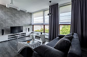 Modern tv livng room with couch, new design coffee table and big windows
