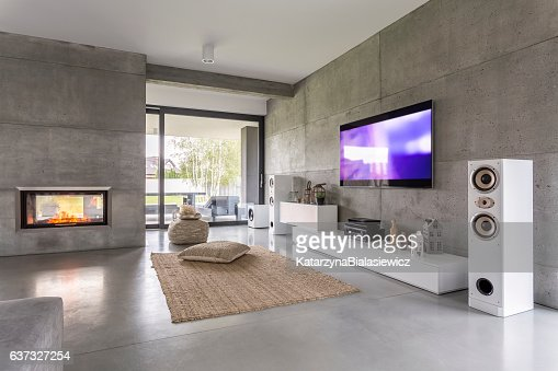 Tv living room with window : Stock Photo