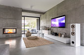 Tv living room with window, fireplace and concrete wall effect