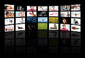TV panels. Television media production technology concept. Spy Surveillance panel concept