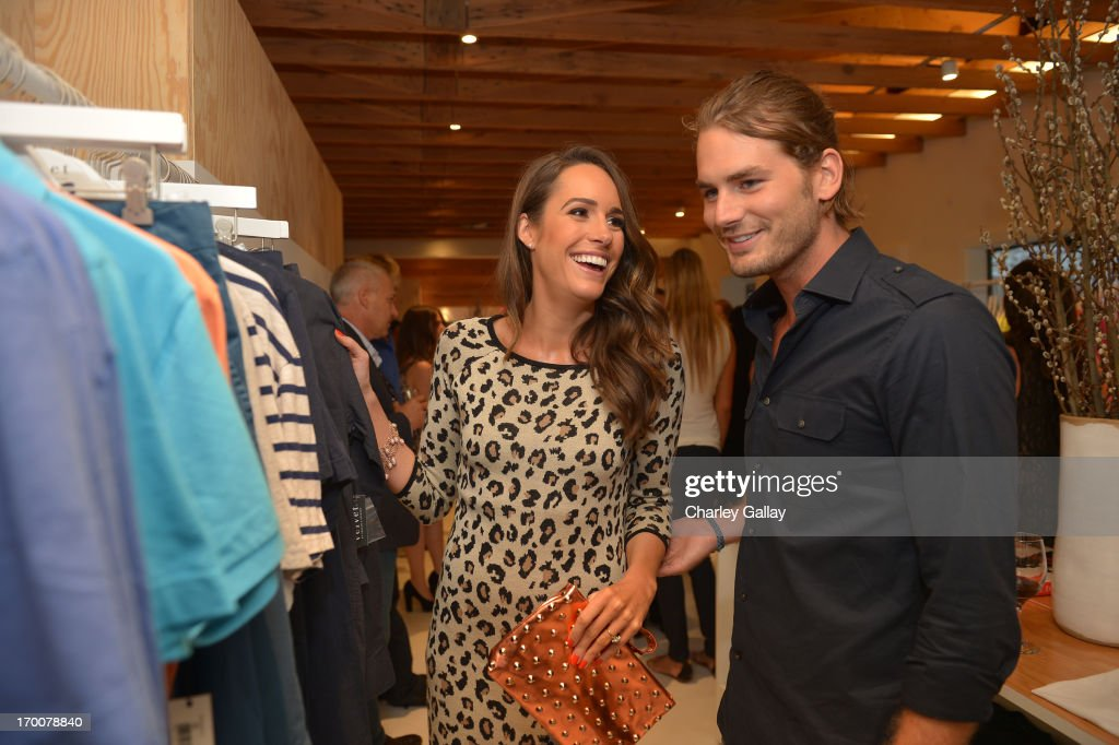 Tv perosnality <a gi-track='captionPersonalityLinkClicked' href=/galleries/search?phrase=Louise+Roe&family=editorial&specificpeople=4300958 ng-click='$event.stopPropagation()'>Louise Roe</a> and model Josh Slackk attend the opening of the Velvet by Graham & Spencer store on June 6, 2013 in Brentwood, California.