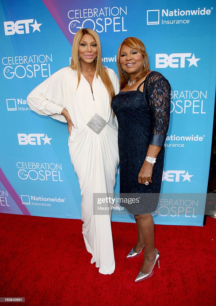 Tv personalities Tamar Braxton (L) and Evelyn Braxton attend the BET Celebration of Gospel 2013 at Orpheum Theatre on March 16, 2013 in Los Angeles, California.