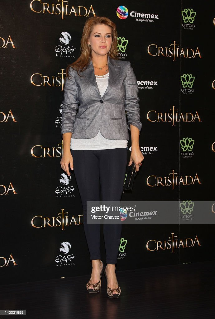 Tv personality Alicia Machado attends the 'For Greater Glory (Cristiada)' Mexico City Premiere at Cinemex Antara Polanco on April 17, 2012 in Mexico City, Mexico.