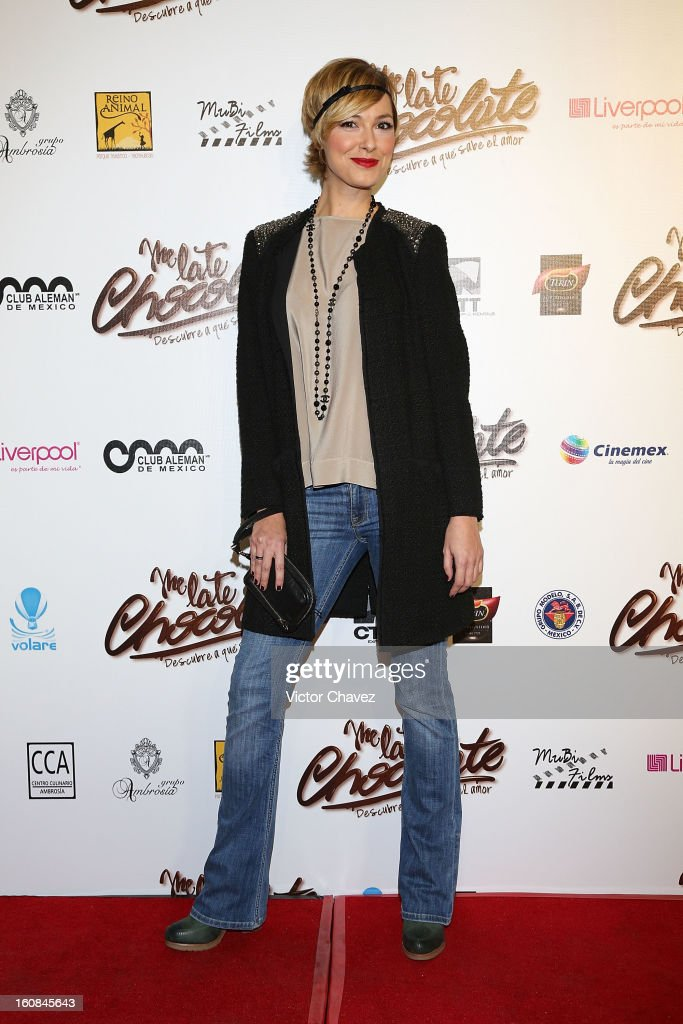 Tv personality and actress Cristina Urgel attends the 'Me Late Chocolate' Mexico City premiere at Cinemex WTC on February 6, 2013 in Mexico City, Mexico.