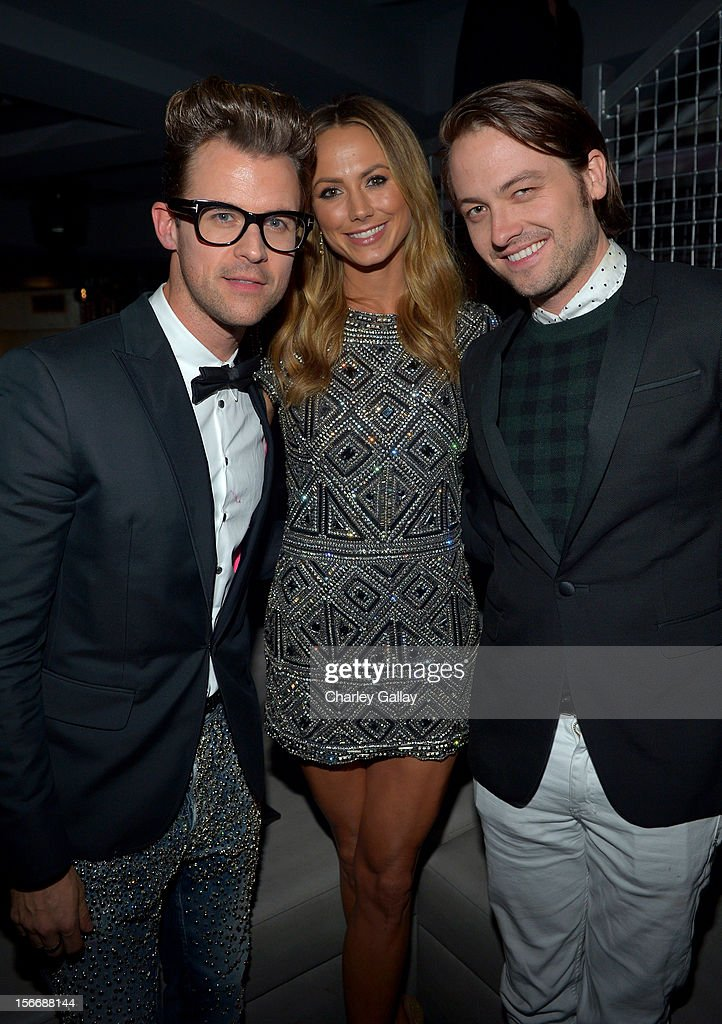 Tv personality <a gi-track='captionPersonalityLinkClicked' href=/galleries/search?phrase=Brad+Goreski&family=editorial&specificpeople=3255296 ng-click='$event.stopPropagation()'>Brad Goreski</a>, actress <a gi-track='captionPersonalityLinkClicked' href=/galleries/search?phrase=Stacy+Keibler&family=editorial&specificpeople=3031844 ng-click='$event.stopPropagation()'>Stacy Keibler</a>, and Thomas Phillips attend the Rolling Stone Magazine Official 2012 American Music Awards VIP after party presented by Nokia and Rdio at Rolling Stone Restaurant And Lounge on November 18, 2012 in Los Angeles, California.