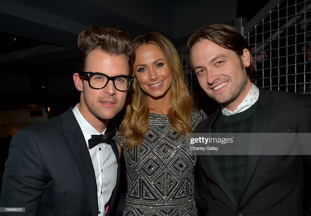 Tv personality Brad Goreski, actress Stacy Keibler, and Thomas Phillips attend the Rolling Stone Magazine Official 2012 American Music Awards VIP after party presented by Nokia and Rdio at Rolling Stone Restaurant And Lounge on November 18, 2012 in Los Angeles, California.