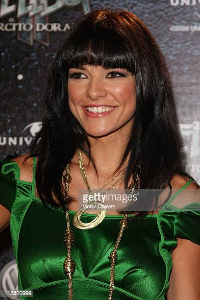 Tv personality Candela Ferro attends the premiere of 'Hellboy II The Golden Army' at the Cinemex Antara on July 3 2008 in Mexico City