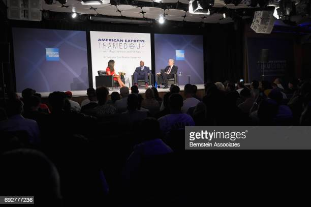 Tv personality Cari Champion Magic Johnson and Pat Riley speak onstage during the American Express Teamed Up with Magic Johnson and Pat Riley on June...