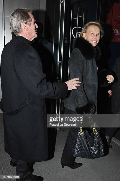 Tv Personality Christine Ockrent and Bernard Kouchner attend the Paris Premiere of the film 'Le Discours d'un Roi' at Cinema UGC Normandie on January...