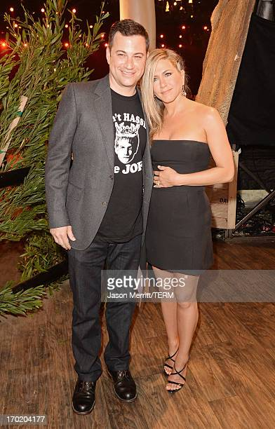 Tv personality Jimmy Kimmel and actrress Jennifer Aniston attend Spike TV's Guys Choice 2013 at Sony Pictures Studios on June 8 2013 in Culver City...