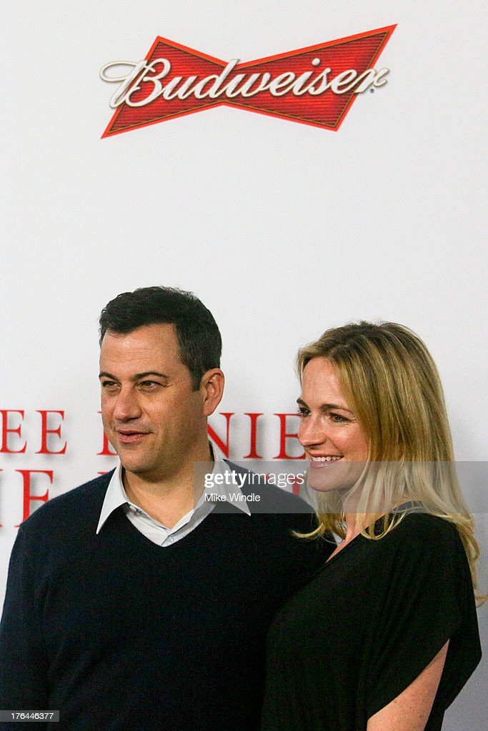 Tv personality Jimmy Kimmel (L) and Molly McNearney attend LEE DANIELS' THE BUTLER Los Angeles premiere, hosted by TWC, Budweiser and FIJI Water, Purity Vodka and Stack Wines, held at Regal Cinemas L.A. Live on August 12, 2013 in Los Angeles, California.