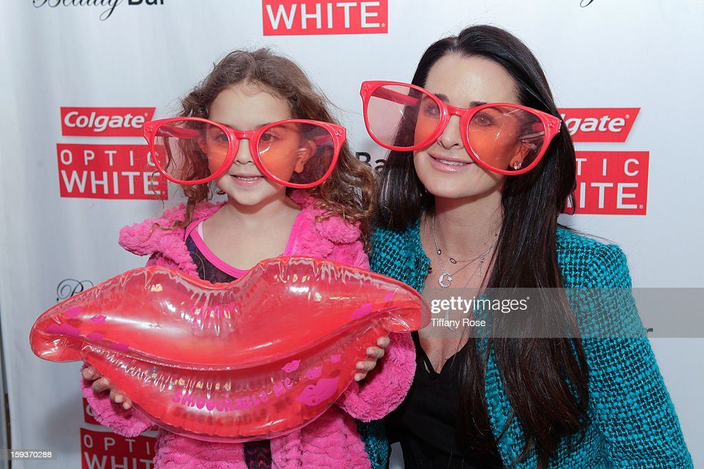 Tv personality <a gi-track='captionPersonalityLinkClicked' href=/galleries/search?phrase=Kyle+Richards&family=editorial&specificpeople=2586434 ng-click='$event.stopPropagation()'>Kyle Richards</a> attends the Colgate Optic White beauty bar - Day 2 at Salon 901 on January 12, 2013 in West Hollywood, California.