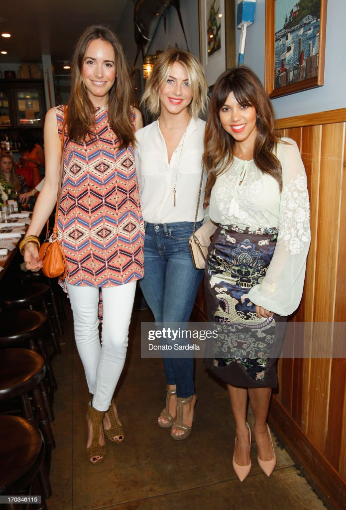 Tv Personality Louise Roe, actress Julianne Hough, both wearing Paper Denim & Cloth, and Tv Personality Kourtney Kardashian attend the Paper Denim & Cloth and Baby2Baby Luncheon at Son Of A Gun on June 11, 2013 in Los Angeles, California.