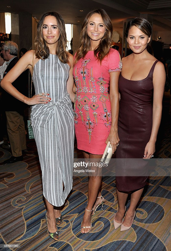 Tv personality Louise Roe actress Stacy Keibler and model Chrissy Teigen attend the 2014 Variety Power of Women presented by Lifetime at Beverly...