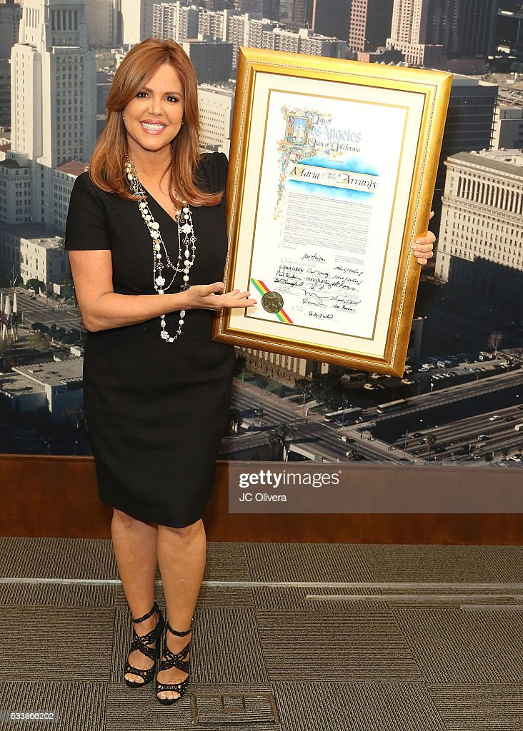 Tv personality <a gi-track='captionPersonalityLinkClicked' href=/galleries/search?phrase=Maria+Celeste+Arraras&family=editorial&specificpeople=221494 ng-click='$event.stopPropagation()'>Maria Celeste Arraras</a> is presented with the Los Angeles City Proclamation at Los Angeles City Hall on May 24, 2016 in Los Angeles, California.