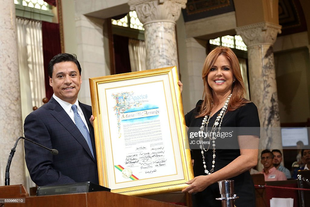 Tv personality <a gi-track='captionPersonalityLinkClicked' href=/galleries/search?phrase=Maria+Celeste+Arraras&family=editorial&specificpeople=221494 ng-click='$event.stopPropagation()'>Maria Celeste Arraras</a> is presented with the Los Angeles City Proclamation by Councilmember Jose Huizar at Los Angeles City Hall on May 24, 2016 in Los Angeles, California.