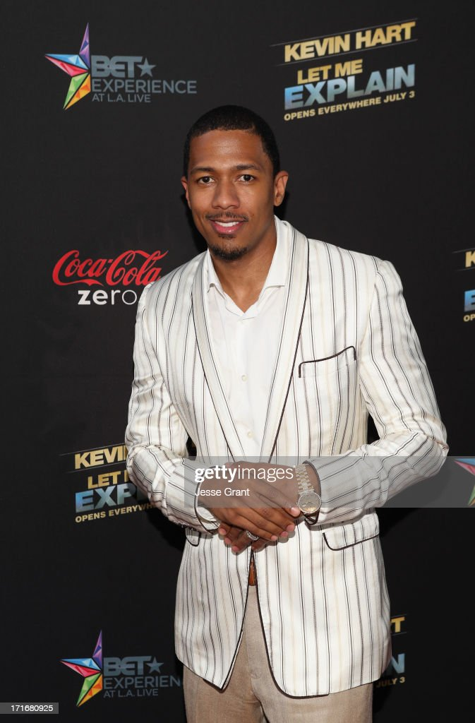 Tv personality <a gi-track='captionPersonalityLinkClicked' href=/galleries/search?phrase=Nick+Cannon&family=editorial&specificpeople=202208 ng-click='$event.stopPropagation()'>Nick Cannon</a> attends Movie Premiere 'Let Me Explain' with Kevin Hart during the 2013 BET Experience at Regal Cinemas L.A. Live on June 27, 2013 in Los Angeles, California.