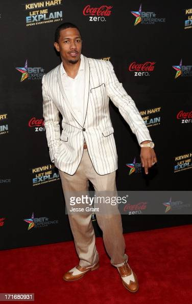 Tv personality Nick Cannon attends Movie Premiere 'Let Me Explain' with Kevin Hart during the 2013 BET Experience at Regal Cinemas LA Live on June 27...