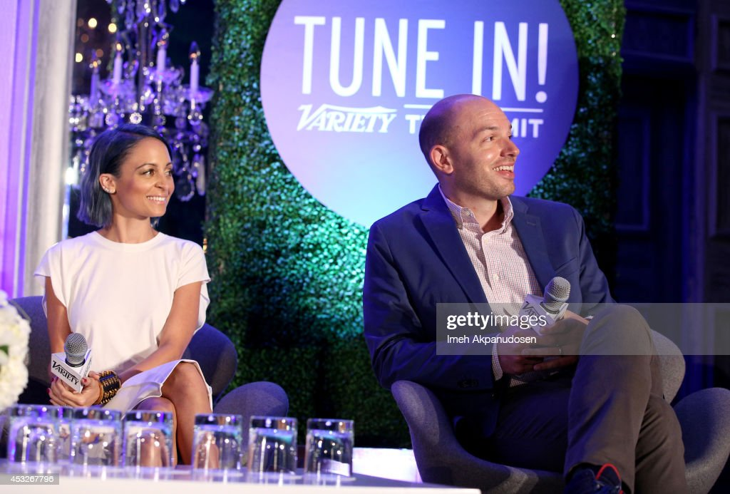 Tv personality Nicole Richie and comedian Paul Scheer speak onstage at the 'TV's Creative Trailblazers' panel during Tune In! Variety's TV Summit at Intercontinental Century City on August 6, 2014 in Century City, California.