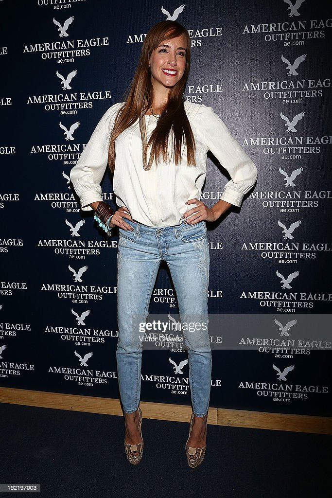 Tv personality Olivia Peralta attends the opening of the American Eagle Mexico City store at Centro Comercial Perisur on February 19, 2013 in Mexico City, Mexico.