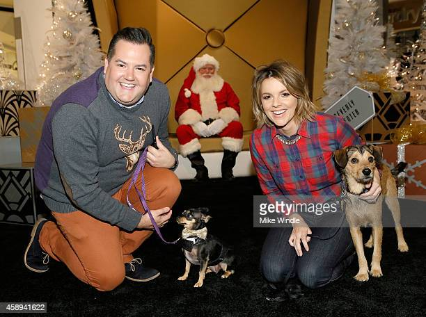 Tv personality Ross Mathews with his dog Audrey and Tv personality Ali Fedotowsky with her dog Owen attend the Beverly Center's Holiday Pet Portraits...